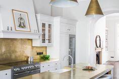 White Shaker Kitchen with Brass - Sustainable Kitchens White Shaker Kitchen, Shaker Kitchen Cabinets, Painting Kitchen Cabinets, Plywood Kitchen, Integrated Fridge, Oak Shelves, Range Cooker, Bespoke Kitchens, Bespoke Design