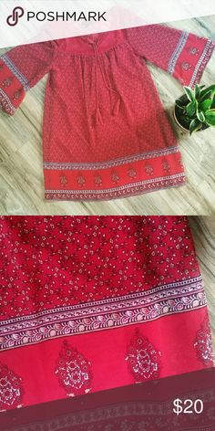 Floral paisley Hippie boho bell peasant dress Super cute with a suede fringe vest for a boho feel. Free people for exposure Free People Dresses Long Sleeve