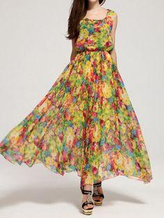 Chic Style V-Neck Full Butterfly Print Lace Up Sleeveless Chiffon Women's DressMaxi Dresses | RoseGal.com