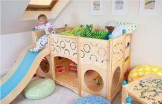 Trendiges Hochbett mit Rutsche – Einrichtungsideen für Kinderzimmer