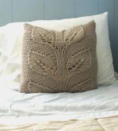 Falling Leaves Knit Pillow Cover