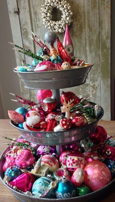 I scored so many beautiful vintage Christmas ornaments over the summer that I bought this three tiered galvanized tray to display them in