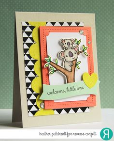 Card by Heather Pulvirenti. Reverse Confetti stamp set: Bear Hugs. Confetti Cuts: Bear Hugs, Wonky Edge Double Scallop Border, and Insta-frame. Quick Card Panels: School Days. Friendship card. Congratulations card. Baby Card.