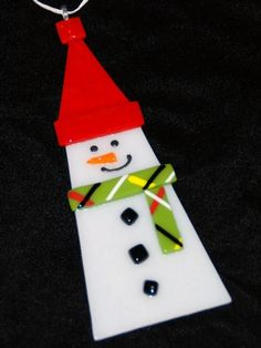 SnowMama, Snowman Ornament in Fused Glass, Handcrafted, Each Unique   Meylah