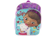 """Disney Doc Mcstuffins """"Hugs Are On the Way"""" 16 Inch Backpack Everyone loves a good cuddle and cuddles are some of Doc McStuffin's best medicine! This roomy backpack featuring Doc and her friend Lambie has a silky satin nylon front panel and enhanced with iridescent piping and clear glitter print. Bright colors with hearts & flowers. - To order: http://www.shopaholic.com.ph/new.html#!/Disney-Doc-Mcstuffins-Hugs-Are-On-the-Way-16-Inch-Backpack/p/50134567/category=6966429"""
