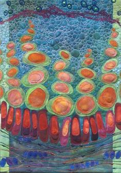 """Karen Kamenetzky Fiber Artist Cellscape III 2005 15""""w x 24""""h Artist dyed cotton, silk and cheesecloth, yarn, beads Machine pieced and quilted"""