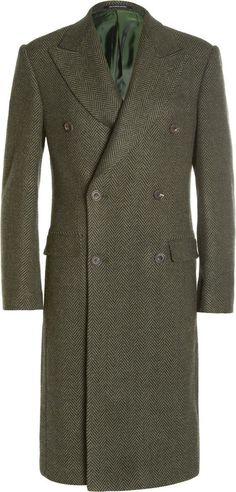 $1,590, Green Overcoat: Richard James Herringbone Wool Overcoat. Sold by MR PORTER. Click for more info: http://lookastic.com/men/shop_items/89362/redirect