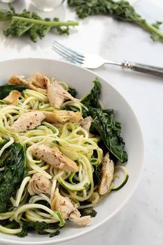 Baked chicken and kale with zucchini pasta. #food