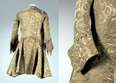 back view and detail of Frockcoat, England, 1740s, silk, wood, wool, linen National Gallery of Victoria, Melbourne via Art Blart, http://artblart.com/tag/van-heusen-1940s-tie/