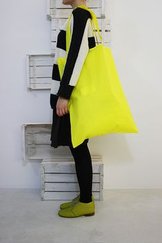 Huge neon tote bag great quirky,kooky and kawaii geek chic bag accessory you could even cover it in badges or screen print messages to show off your en trend streak and go all 90's cartoon pop ...funky alice