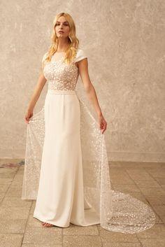 Cap Sleeve Wedding Dress Lace Bridal Gown Boho Wedding | Etsy