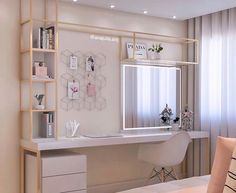 Image may contain: Internal area Teen Bedroom ideas - Jugendzimmer - Bedroom Desk, Small Room Bedroom, Room Ideas Bedroom, Bedroom Ideas For Small Rooms For Girls, Diy Bedroom, Home Office Design, Home Office Decor, Home Decor, Cute Room Decor