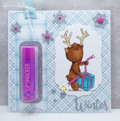 Christmas project using reindeer with a present. Lip balm gift. #kindacutebypatricia #digitalstamps #copicsketchmarkers #christmascards