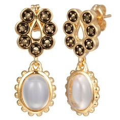 18k Yellow Gold Plated Sterling Silver Marcasite and Crystal Oval Drop Earrings Amazon Curated Collection. $29.00. Made in China. Save 59%!