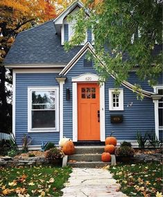 Exterior Paint Colors For House, Paint Colors For Home, Cottage Exterior Colors, House Siding Colors, Blue Siding, Dark Blue Houses, Orange Front Doors, Pintura Exterior, Suburban House