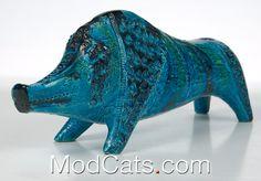 60's italian ceramics - bitossi rimini blue boar