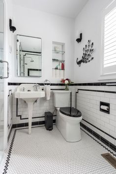 The latest project from Cypress Design Co: Black and White Art Deco Bathroom Renovation in Providence, RI Black And White Bathroom Floor, Black White Bathrooms, White Bathroom Tiles, Bathroom Floor Tiles, Wall Tiles, Bathroom Artwork, Art Deco Bathroom, Bathroom Tile Designs, Bathroom Pictures