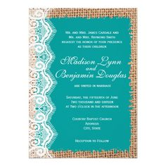Rustic Burlap Lace Turquoise teal Aqua Blue Wedding Invitations.    Rustic Wedding Invitations.