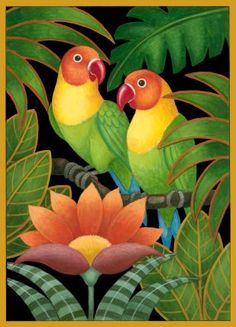 """Two Parrots and Flowers,"" Stephanie Stouffer Tropical Art, Bird Drawings, Fabric Painting, Plant Painting, Bird Art, Indian Art, African Art, Parrot, Art Projects"