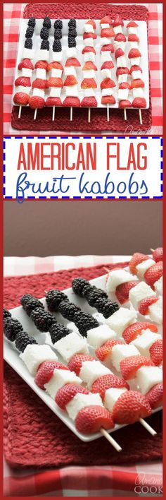 This Memorial Day or Fourth of July, make these super easy American Flag Kabobs to serve at your party. Fruit kabobs are a nice alternative dessert!