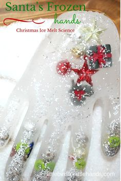 Help Santa this Christmas and melt his frozen hands! Fun ice melt science and play for young kids. Simple to make, these frozen hands are always a hit!