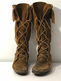 Minnetonka Moccasin Boots size 9 Knee High Brown Suede Distressed Need Repair   #Minnetonka #KneeHighBoots #Casual