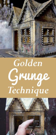 Golden Grunge Decoupage Technique by Heather Tracy for Graphics Fairy. Such a…