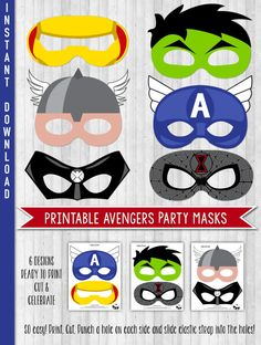INSTANT DOWNLOAD Avengers Party Masks Avengers by LaBelleStudio - Visit to grab an amazing super hero shirt now on sale!