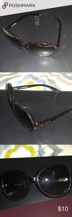 "Reposhed Juicy Conture Sunglasses These are nice but have some scratches on them. And on the outside the ""juicy conture"" label is peeling as seen in the pictures. When you have them on you cannot really see the scratches but it was just enough to worry me so I  letting them go. Please no offers, the low price reflects any blemishes. Juicy Couture Accessories Sunglasses"