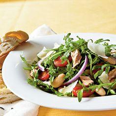 Arugula, Italian Tuna, and White Bean  - skip the parmesan if you're in the 1st three weeks!  Salad