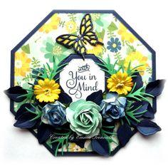Floral get well card, crealies octogen, spellbinders, cheerylynn, sizzix dies