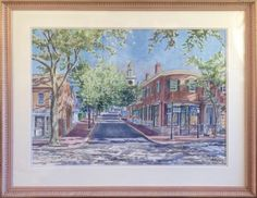 """William Welch Watercolor on Paper """"5:17 on Main Street""""   July 2, 2016 Auction at Rafael Osona Auctions Nantucket, MA"""