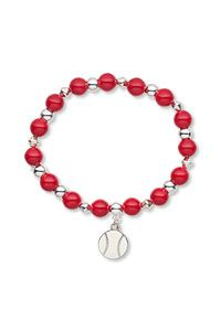 Bracelet with Enamel and Pewter Charm Czech Glass Druk Beads and Silver-Plated Brass Beads
