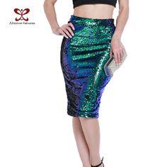 2017 New Women's Nightclubs Wind-layer Skirt Women Sexy Thin High Waist Sequins Pencil Skirt Fashion Package Hip Skirt M-267