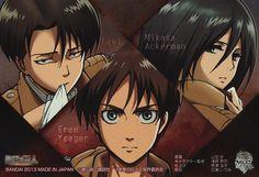 Tags: Scan, Official Art, Artist Request, Shingeki no Kyojin, Mikasa Ackerman, Rivaille, Eren Jaeger, Wit Studio