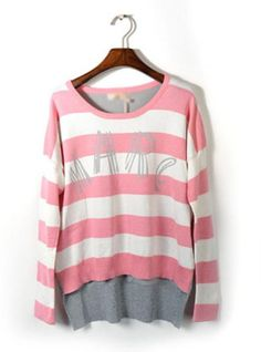 Pink Striped Long Sleeve Sweater$41.00