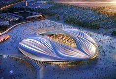 Al-Wakrah Stadium (Qatar) - Zaha Hadid  L'Al-Wakrah Stadium est l'un des cinq stades qui accueilleront la Coupe du monde de football de la FIFA en 2022 au Qatar. Ses contours et sa fente centrale lui avaient valu le surnom de « Stade vagin » lorsque les premières images du projet avaient été dévoilées, en 2013.  En savoir plus sur http://www.lemonde.fr/culture/portfolio/2016/03/31/sept-projets-phares-de-zaha-hadid_4893541_3246.html#j0d5ekO3yUOD3KxA.99