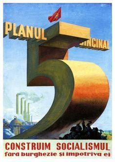 Romanian Communist Five Year Plan Poster A3/A2 Print