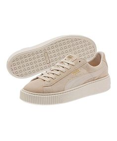 PUMA Pink Tint & Whisper White Platform Mono Satin Suede Sneaker | zulily