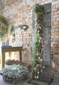decorating with branches & pine cones