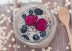 Overnight oats are a great way to have creamy and tasty oatmeal waiting for you in the morning, without cooking. I added quinoa and blueberries to this one.