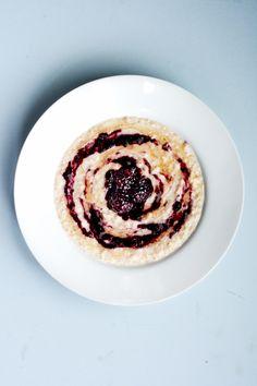 Porridge with Almond Milk, Rhubarb, Apple, Nuts and Coconut | Rhubarb ...