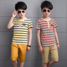 New Summer Children Clothes Boys Clothing Sets Two Pieces T-shirt + Shorts All Cotton Fashion Casual Striped Suits Big Kids 212 #Affiliate