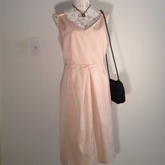 New - Talbots Dress (Lined) Sundress For A Spring/Summer Day - Wear To Work With Blazer Or Cardigan - 68 Rayon/29 Cotton - Polyester Lining- Back Zip - Kick Pleat - Bra Strap Closures In Shoulder Straps - Flattering Fit Talbots Dresses Midi