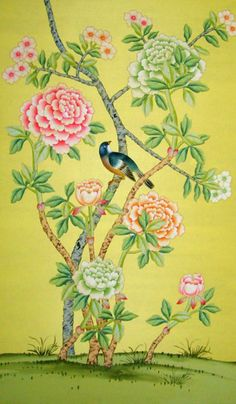 G & W Collections: Chinoiserie Papers - Song Sassoon - Griffin + Wong chinoiserie wallpaper Chinoiserie Wallpaper, Chinoiserie Chic, Hand Painted Wallpaper, Fabric Wallpaper, Decoration, Art Decor, Decor Ideas, Chinese Design, Color Of Life