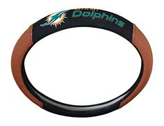 NFL Miami Dolphins Steering Wheel Cover  http://allstarsportsfan.com/product/nfl-steering-wheel-cover/?attribute_pa_teamname=miami-dolphins  Fits Most Standard Size Steering Wheels Up To 14.5-inches to 15.5-inches Football Accents Provide a Fumble Free Grip Decorated with NFL Full Embroidered Team Colored Logo