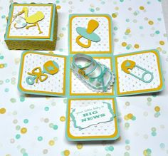 Baby Shoe Exploding Box Card by PapyrusPatty on Etsy