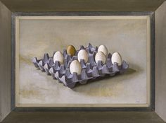 Stephen Rose (1960- ) A tray of eggs (2013), oil on canvas, 40.3 x 61 cm.  Reproduction early 20th century French artist's canted frame with painted finish