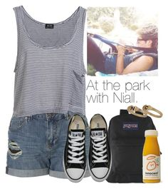 """""""At the park with Niall."""" by carriolyn ❤ liked on Polyvore featuring Bardot, JanSport, Converse and Topshop"""