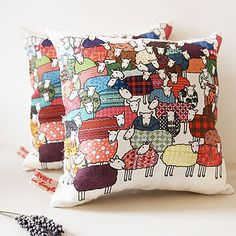 Flock Of Sheep Lavender Cushion
